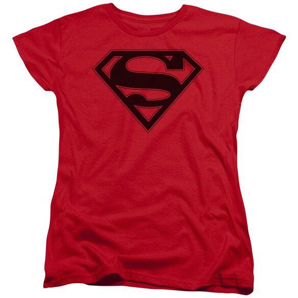 Superman & Black Shield Short Sleeve Womens Tee T-Shirt