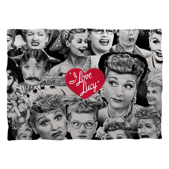 I Love Lucy Faces Pillow Case White