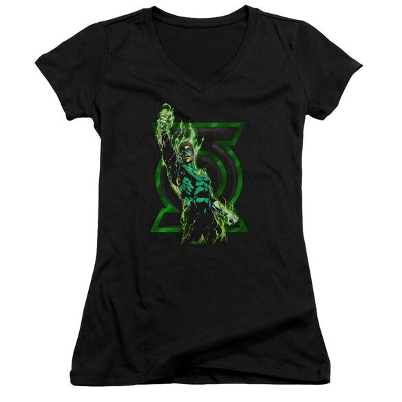 Green Lantern Fully Charged Junior V Neck T-Shirt