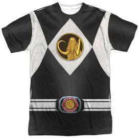 Power Rangers Black Ranger Uniform Short Sleeve Adult Poly Crew T-Shirt