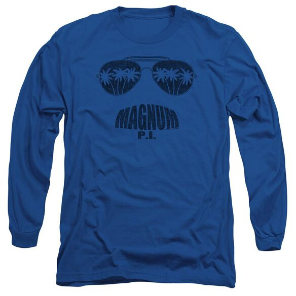 Magnum Pi Face It Long Sleeve Adult Royal T-Shirt