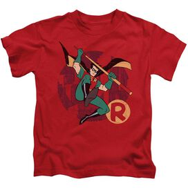 Batman The Animated Series Robin Leap Short Sleeve Juvenile Red T-Shirt