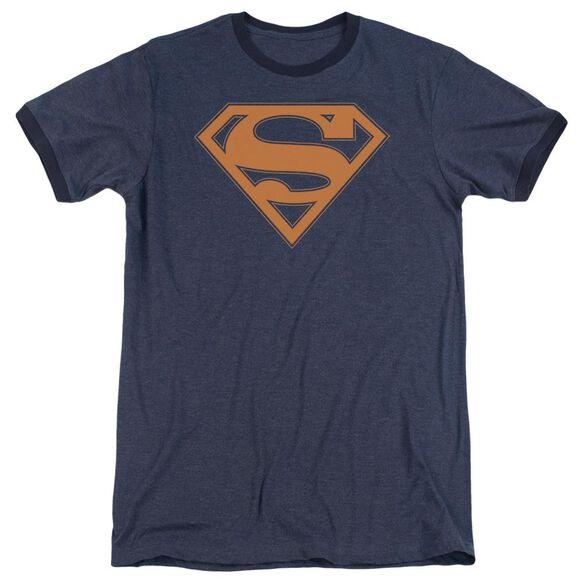 Superman Navy & Orange Shield Adult Heather Ringer Navy