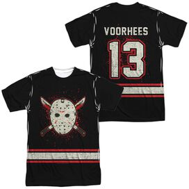 Friday The 13 Th Voorhees Jersey (Front Back Print) Short Sleeve Adult Poly Crew T-Shirt