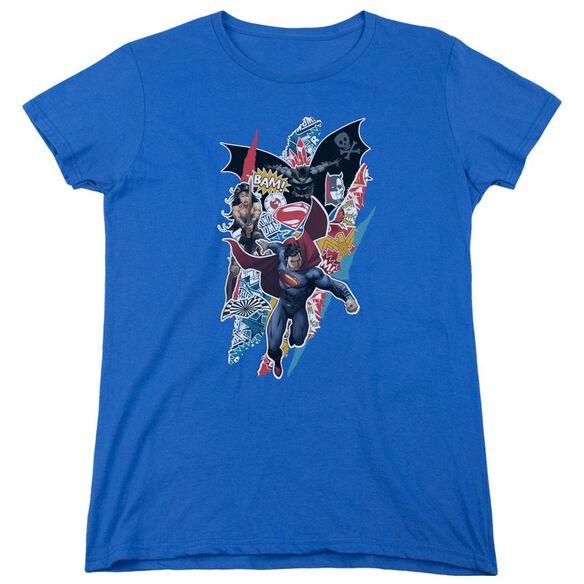 Batman V Superman Ripped Trio Short Sleeve Womens Tee Royal T-Shirt