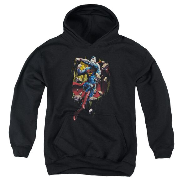 Superman Flying Determination Youth Pull Over Hoodie