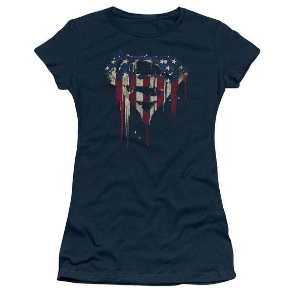 Superman Bleeding Shield Short Sleeve Junior Sheer T-Shirt