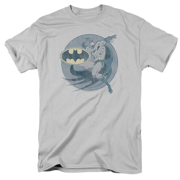 Dco Retro Batman Iron On Short Sleeve Adult Silver T-Shirt