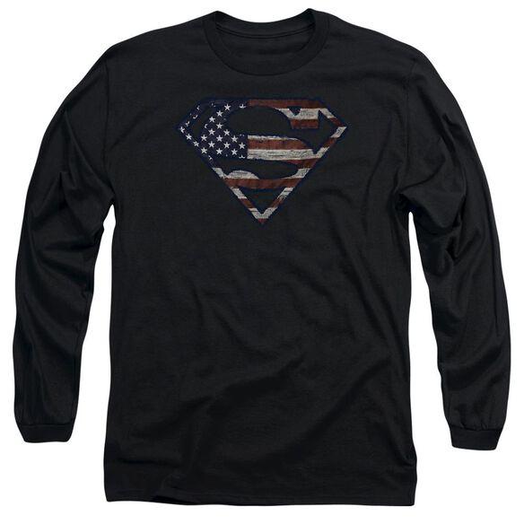 Superman Wartorn Flag Long Sleeve Adult T-Shirt