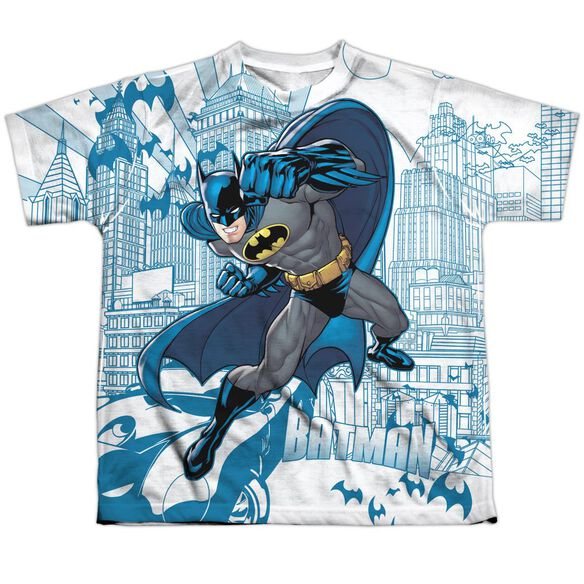 Batman Skyline All Over Short Sleeve Youth Poly Crew T-Shirt