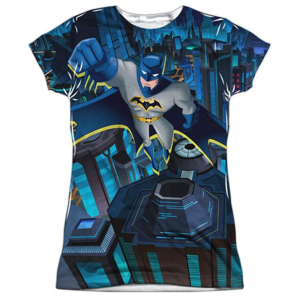 Batman Unlimited Cityscape Short Sleeve Junior Poly Crew T-Shirt
