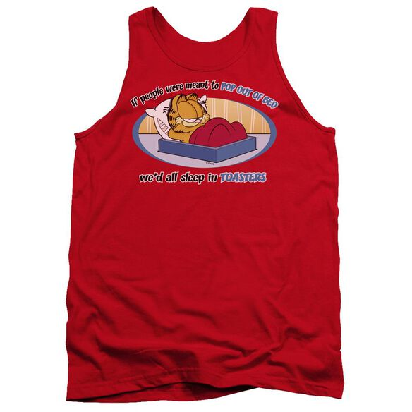 Garfield Pop Out Of Bed - Adult Tank - Red
