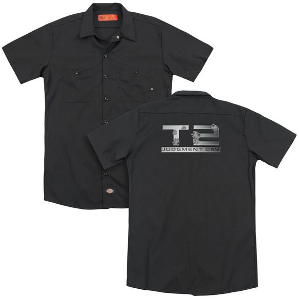 Terminator 2 Gunshot Logo(Back Print) Adult Work Shirt