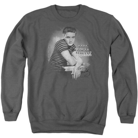Elvis Trouble Adult Crewneck Sweatshirt