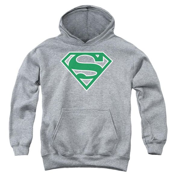 Superman Green & White Shield Youth Pull Over Hoodie Athletic