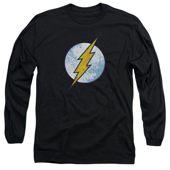 Dc Flash Flash Neon Distress Logo Long Sleeve Adult T-Shirt
