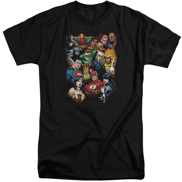Jla The League's All Here Short Sleeve Adult Tall T-Shirt