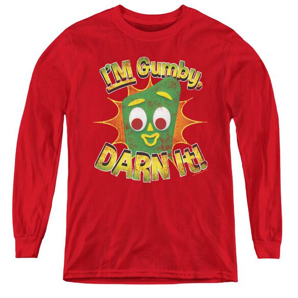 Gumby Darn It - Youth Long Sleeve Tee - Red