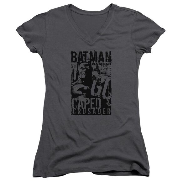Batman Caped Crusader Junior V Neck T-Shirt
