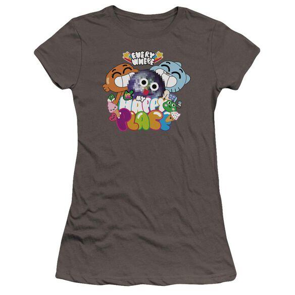 Amazing World Of Gumball Happy Place Hbo Short Sleeve Junior Sheer T-Shirt