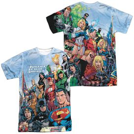 Jla Justice League Of America (Front Back Print) Short Sleeve Adult 100% Poly Crew T-Shirt
