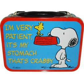 Peanuts Snoopy Woodstock When Do We Eat Tin Tote