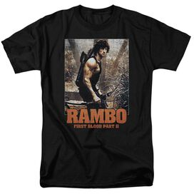 Rambo:First Blood Ii The Hunt Short Sleeve Adult Black T-Shirt