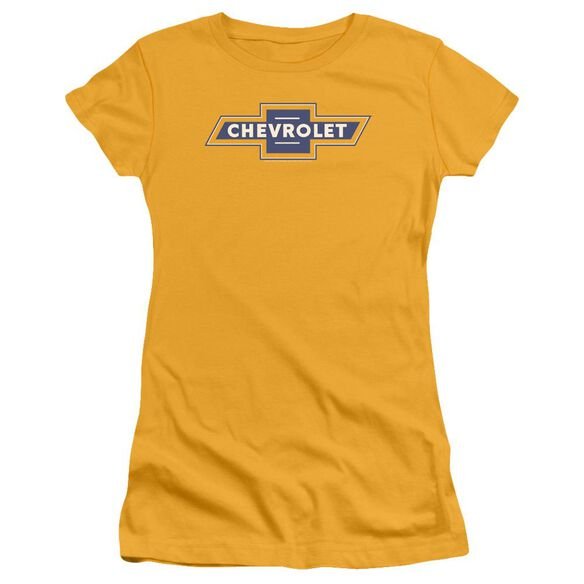 Chevrolet Blue And Vintage Bowtie Short Sleeve Junior Sheer T-Shirt