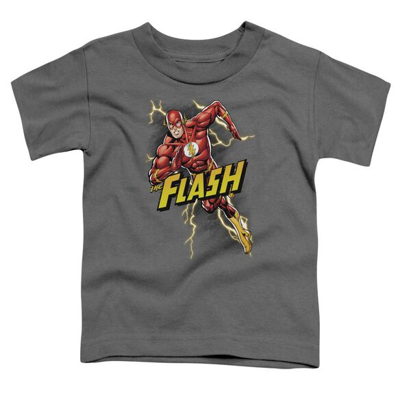 Jla Bolt Run Short Sleeve Toddler Tee Charcoal T-Shirt