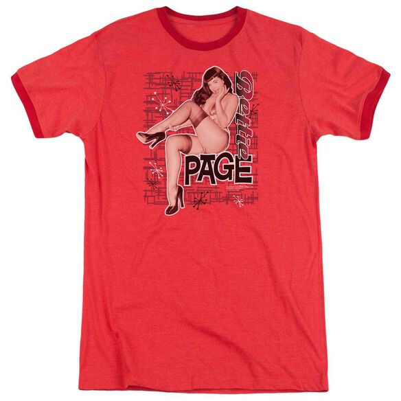 Bettie Page Retro Hot Adult Heather Ringer Red