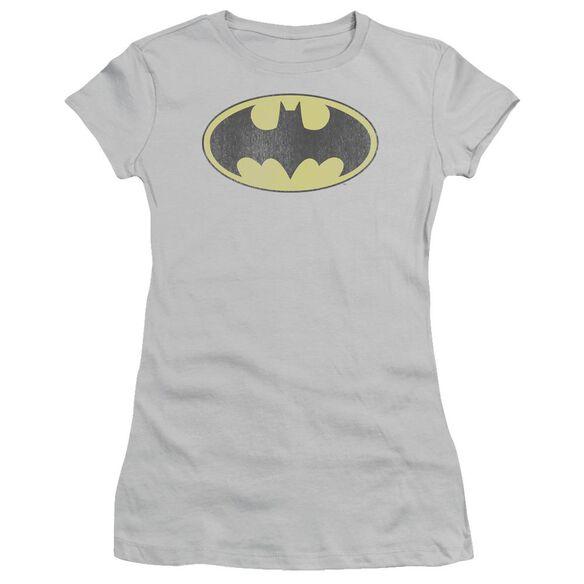 Dc Retro Bat Logo Distressed Short Sleeve Junior Sheer T-Shirt