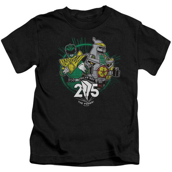Power Rangers Green 25 Short Sleeve Juvenile Black T-Shirt