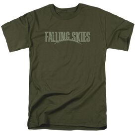 Falling Skies Distressed Logo Short Sleeve Adult Military Green T-Shirt