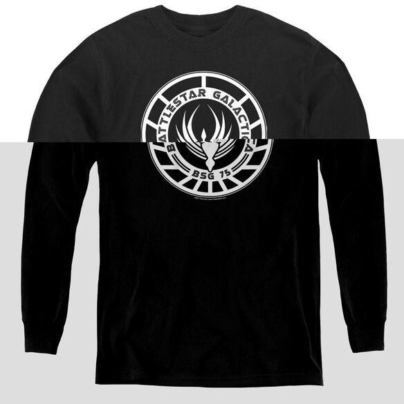 Bsg Galactica Badge - Youth Long Sleeve Tee - Black