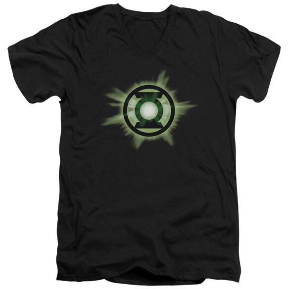 Green Lantern Green Glow Short Sleeve Adult V Neck T-Shirt