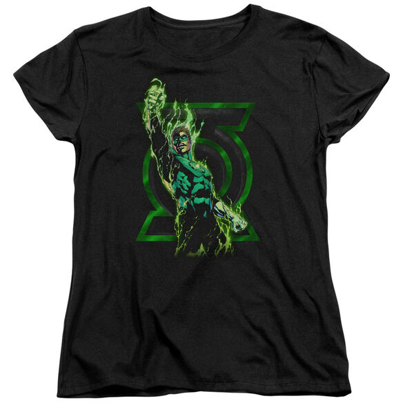 GREEN LANTERN FULLY CHARGED - S/S WOMENS TEE - BLACK T-Shirt