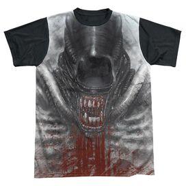 ALIEN BLOOD DROOL-S/S ADULT WHITE FRONT BLACK BACK T-Shirt