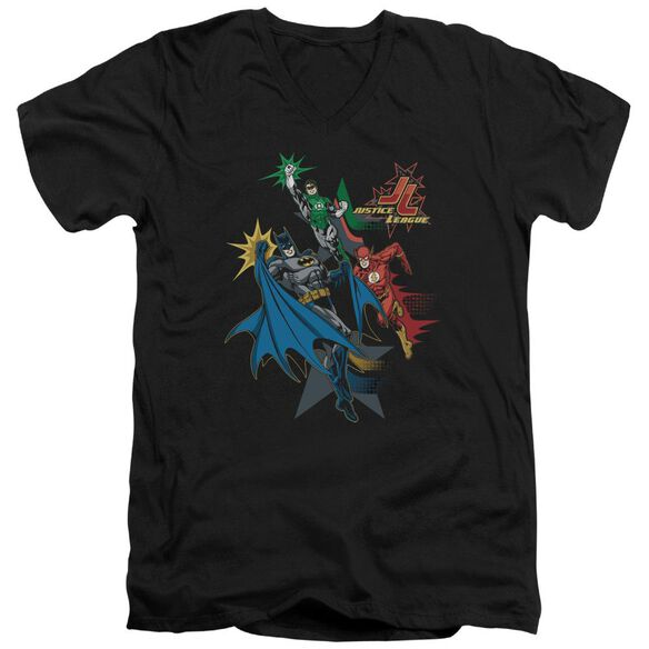 Jla Action Stars Short Sleeve Adult V Neck T-Shirt