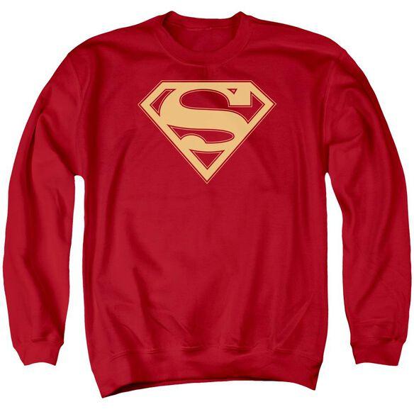 Superman &Amp; Gold Shield Adult Crewneck Sweatshirt