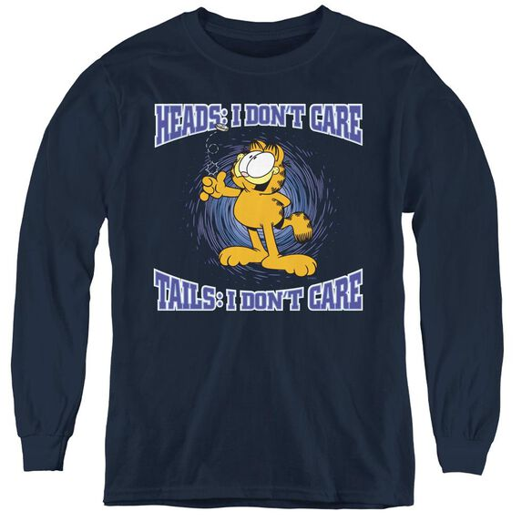 Garfield Heads Or Tails - Youth Long Sleeve Tee - Navy