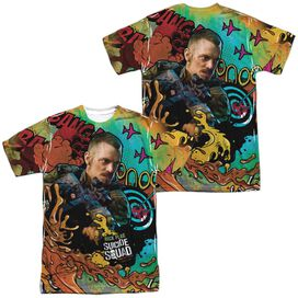 Suicide Squad Rick Flag Psychedelic Cartoon (Front Back Print) Short Sleeve Adult Poly Crew T-Shirt