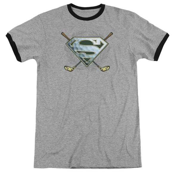Superman Fore! Adult Ringer Heather Black