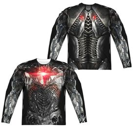 Justice League Movie Cyborg Uniform (Front Back Print) Long Sleeve Adult Poly Crew T-Shirt