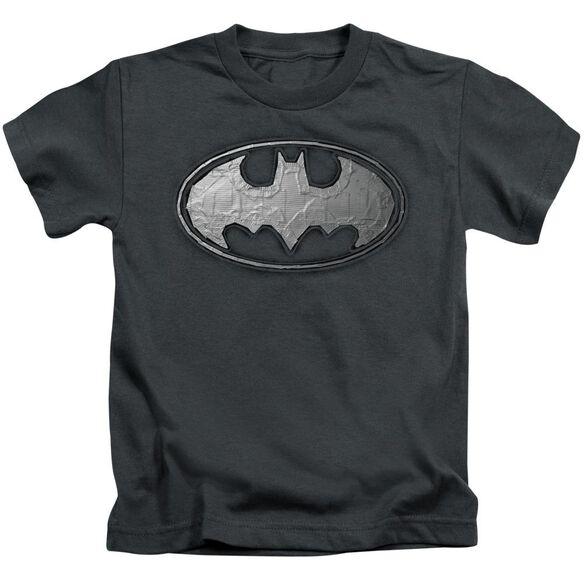 Batman Duct Tape Logo Short Sleeve Juvenile Charcoal T-Shirt