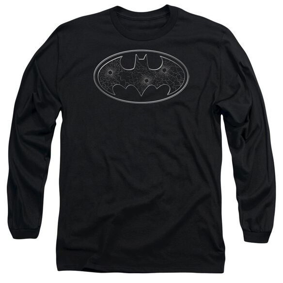 Batman Glass Hole Logo Long Sleeve Adult T-Shirt