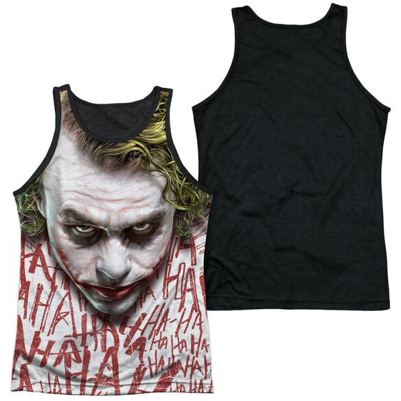 Dark Knight Joker Face Adult Poly Tank Top Black Back