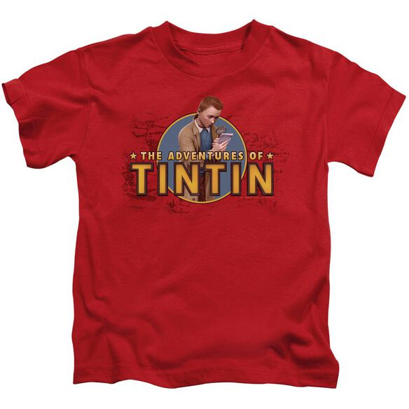 Tintin Looking For Clues Short Sleeve Juvenile Red T-Shirt