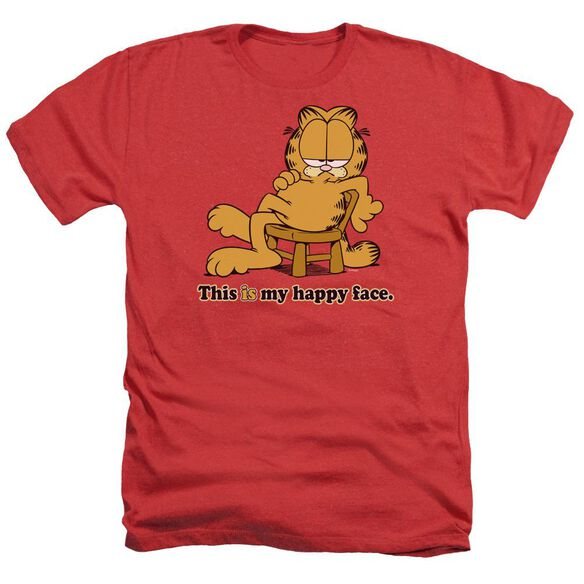 Garfield Happy Face - Adult Heather - Red