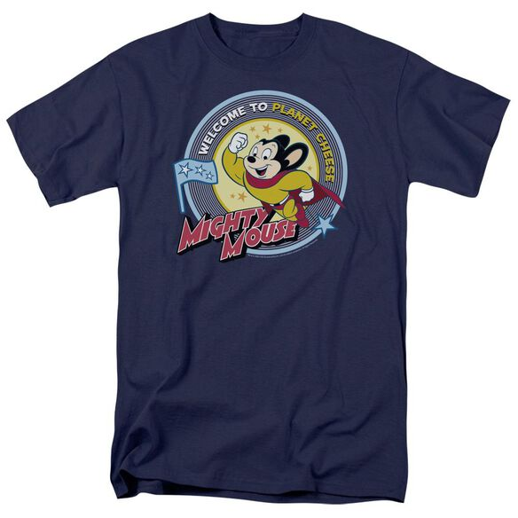 MIGHTY MOUSE PLANET CHEESE - S/S ADULT 18/1 - NAVY T-Shirt