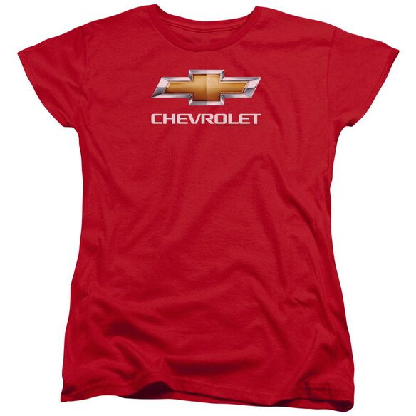 Chevrolet Chevy Bowtie Stacked Short Sleeve Womens Tee T-Shirt